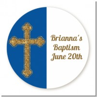 Gold Glitter Cross Navy Blue - Round Personalized Baptism / Christening Sticker Labels