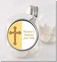 Gold Glitter Cross Yellow - Personalized Baptism / Christening Candy Jar
