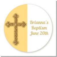 Gold Glitter Cross Yellow - Round Personalized Baptism / Christening Sticker Labels