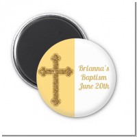 Gold Glitter Cross Yellow - Personalized Baptism / Christening Magnet Favors