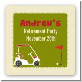Golf Cart - Square Personalized Retirement Party Sticker Labels