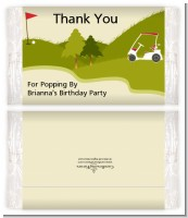 Golf Cart - Personalized Popcorn Wrapper Birthday Party Favors