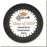 Grad Keys to Success - Round Personalized Graduation Party Sticker Labels
