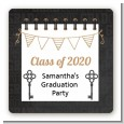 Grad Keys to Success - Square Personalized Graduation Party Sticker Labels thumbnail