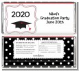 Graduation Cap Black & Red - Personalized Graduation Party Candy Bar Wrappers thumbnail