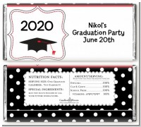 Graduation Cap Black & Red - Personalized Graduation Party Candy Bar Wrappers