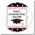 Graduation Cap Black & Red - Round Personalized Graduation Party Sticker Labels thumbnail