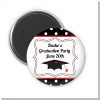 Graduation Cap Black & Red - Personalized Graduation Party Magnet Favors