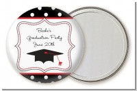 Graduation Cap Black & Red - Personalized Graduation Party Pocket Mirror Favors