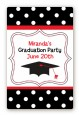 Graduation Cap Black & Red - Custom Large Rectangle Graduation Party Sticker/Labels thumbnail