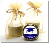 Graduation Cap Blue - Graduation Party Gold Tin Candle Favors