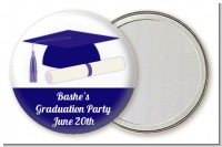 Graduation Cap Blue - Personalized Graduation Party Pocket Mirror Favors