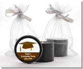Graduation Cap Brown - Graduation Party Black Candle Tin Favors