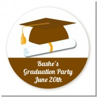 Graduation Cap Brown - Round Personalized Graduation Party Sticker Labels