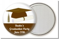Graduation Cap Brown - Personalized Graduation Party Pocket Mirror Favors