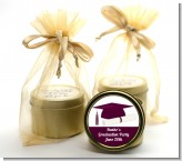 Graduation Cap Maroon - Graduation Party Gold Tin Candle Favors