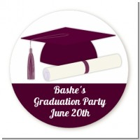Graduation Cap Maroon - Round Personalized Graduation Party Sticker Labels