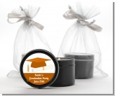 Graduation Cap Orange - Graduation Party Black Candle Tin Favors