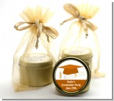 Graduation Cap Orange - Graduation Party Gold Tin Candle Favors