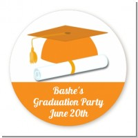 Graduation Cap Orange - Round Personalized Graduation Party Sticker Labels