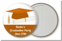 Graduation Cap Orange - Personalized Graduation Party Pocket Mirror Favors