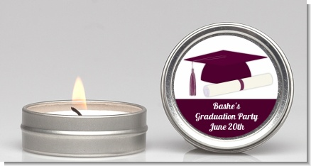 Graduation Cap Purple - Graduation Party Candle Favors