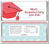 Graduation Cap Red - Personalized Graduation Party Candy Bar Wrappers