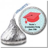 Graduation Cap Red - Hershey Kiss Graduation Party Sticker Labels