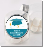 Graduation Cap Teal - Personalized Graduation Party Candy Jar