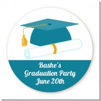 Graduation Cap Teal - Round Personalized Graduation Party Sticker Labels