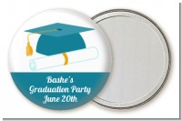 Graduation Cap Teal - Personalized Graduation Party Pocket Mirror Favors