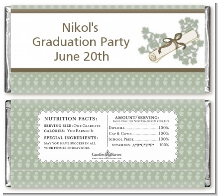 Graduation Diploma - Personalized Graduation Party Candy Bar Wrappers