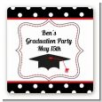Graduation Cap Black & Red - Square Personalized Graduation Party Sticker Labels thumbnail