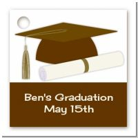 Graduation Cap Brown - Personalized Graduation Party Card Stock Favor Tags