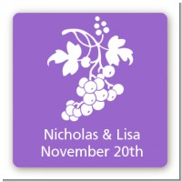 Grapes - Square Personalized Bridal Shower Sticker Labels