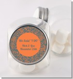 Grey & Orange - Personalized Bridal Shower Candy Jar