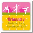 Gymnastics - Square Personalized Birthday Party Sticker Labels thumbnail