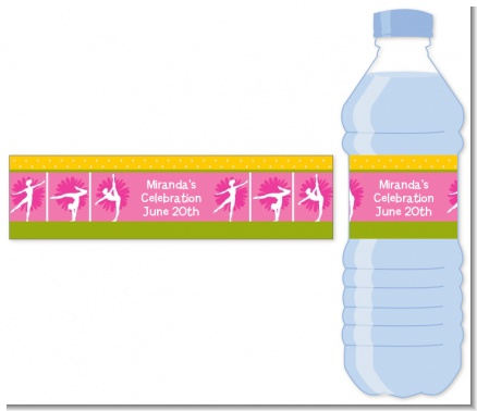 Gymnastics - Personalized Birthday Party Water Bottle Labels