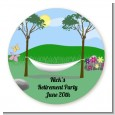 Hammock - Round Personalized Retirement Party Sticker Labels thumbnail