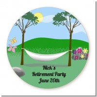Hammock - Round Personalized Retirement Party Sticker Labels