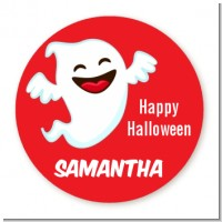 Happy Ghost - Round Personalized Halloween Sticker Labels