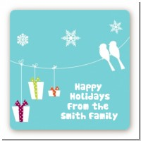 Happy Holidays on a String - Square Personalized Christmas Sticker Labels