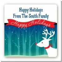 Happy Holidays Reindeer - Square Personalized Christmas Sticker Labels