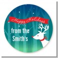Happy Holidays Reindeer - Round Personalized Christmas Sticker Labels thumbnail