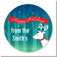 Happy Holidays Reindeer - Round Personalized Christmas Sticker Labels