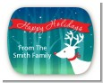 Happy Holidays Reindeer - Personalized Christmas Rounded Corner Stickers thumbnail