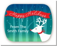 Happy Holidays Reindeer - Personalized Christmas Rounded Corner Stickers