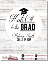 Hats Off To The Grad - Round Personalized Graduation Party Sticker Labels