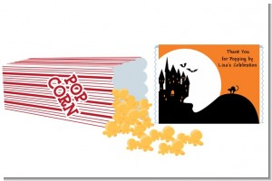 Haunted House - Personalized Popcorn Wrapper Halloween Favors