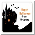 Haunted House - Square Personalized Halloween Sticker Labels thumbnail